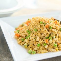 Green Curry Fried Rice with Vegetables in White Serving Dish