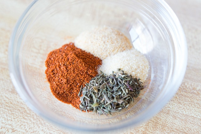 Assorted Spices in Glass Bowl to Approximate Homemade Lawry\'s Seasoning