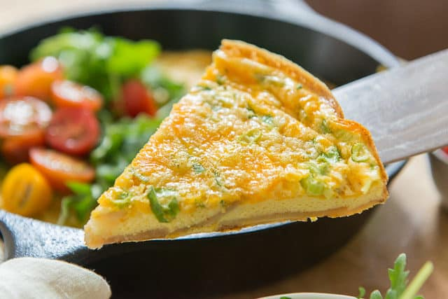 Potato Frittata - Slice with Scallions and Cheddar