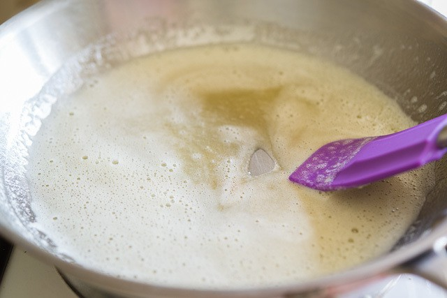 Browning Foamy Butter in Skillet