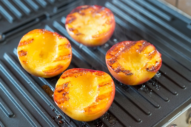 Grilled Peaches with Bourbon Brown Butter Sauce Recipe