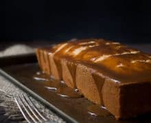 Caramel Apple pound Cake with Fork and Dark Background