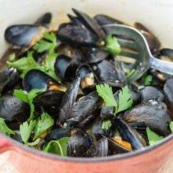 Coconut Green Curry Mussels in Pot