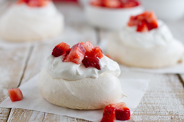 Strawberry Pavlova with Meringue, Cream, and Fresh Strawberries