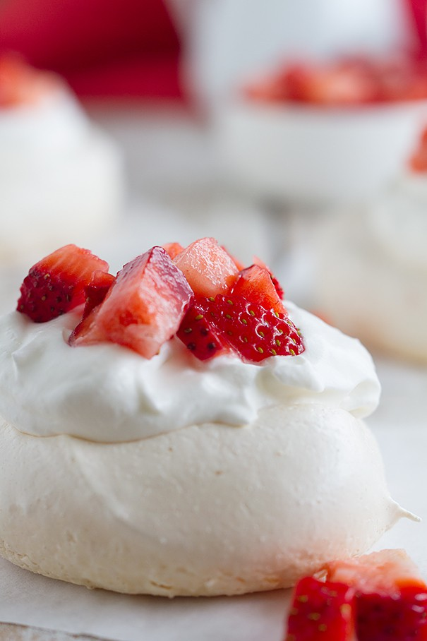 Mini Pavlova Dessert on Parchment with Strawberries