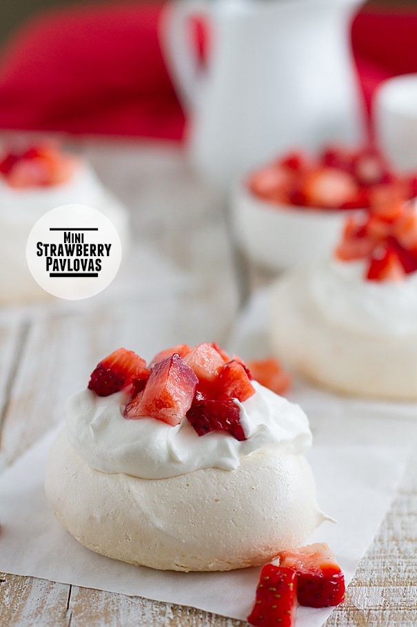 Mini Strawberry Pavlova - On Square of Parchment Paper
