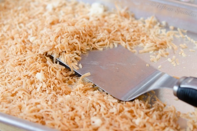 Toasted Coconut on a Sheet Pan with Turner