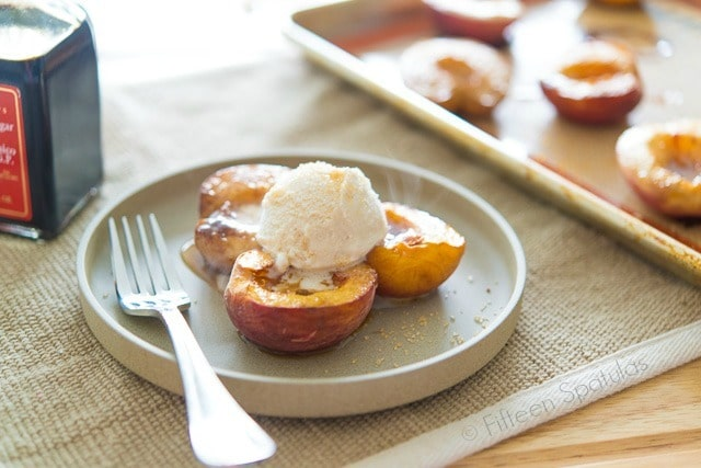 Roasted Peaches and Ice Cream with Fork