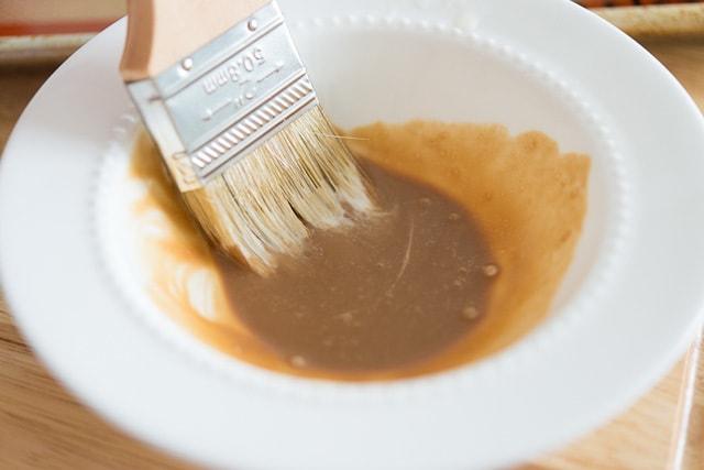 Caramel Sauce with a basting brush