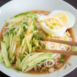 Asian Noodles with Cucumbers and Boiled Egg