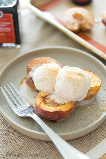 Peaches and Balsamic Cream On A Plate