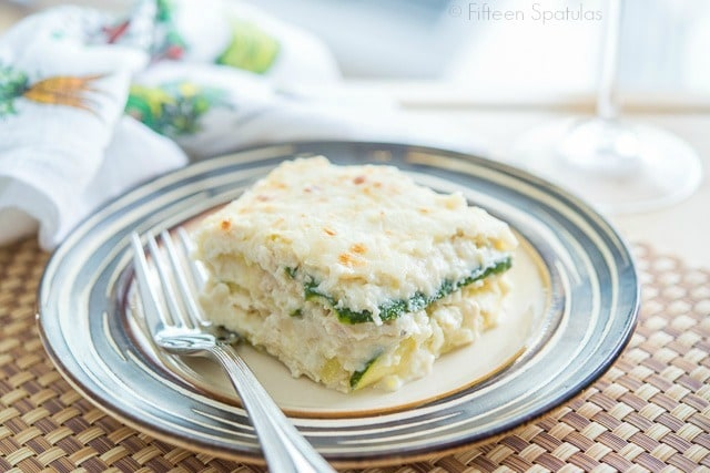 White Lasagna with Zucchini Noodles on Plate with Fork