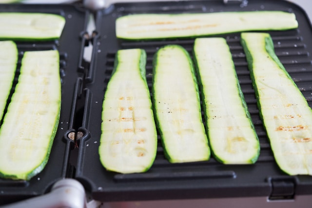 Grilled Zucchini Ribbons on Grill Press