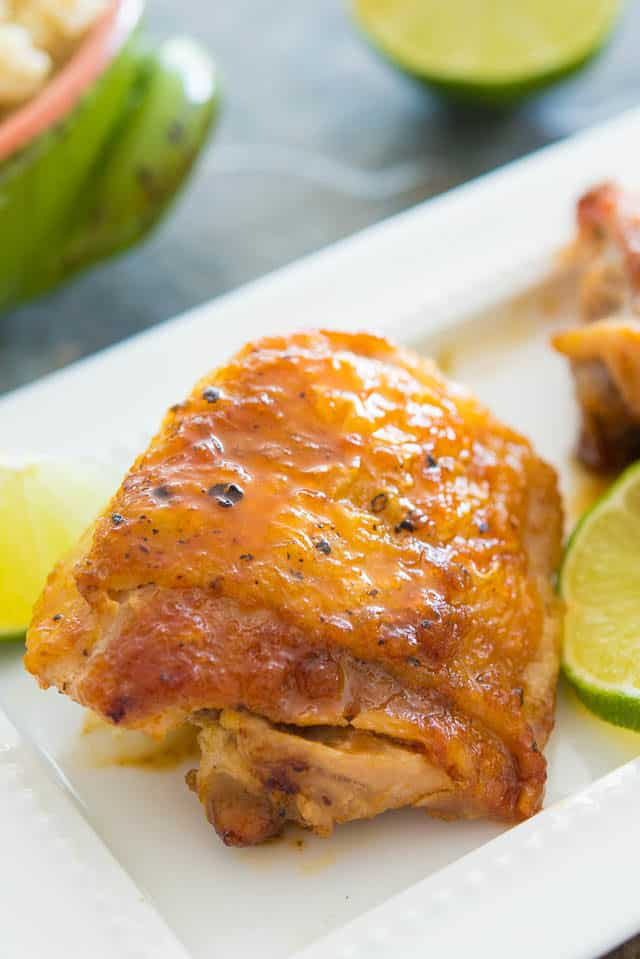 Honey Lime Chicken - Served on White Platter with Lime wedges