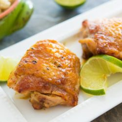 Honey Lime Chicken Served on White Platter with Lime wedges