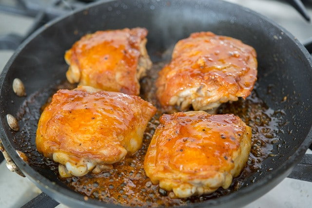 Honey Lime Chicken Recipe - Cooking In Skillet with Bubbling Sauce