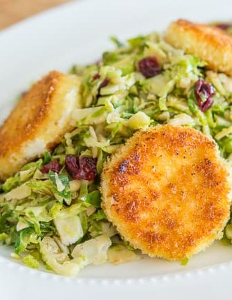 Warm Brussel Sprout Salad with Crispy Goat Cheese