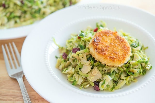 Warm Brussel Sprout Salad recipe with Fried Goat Cheese @fifteenspatulas