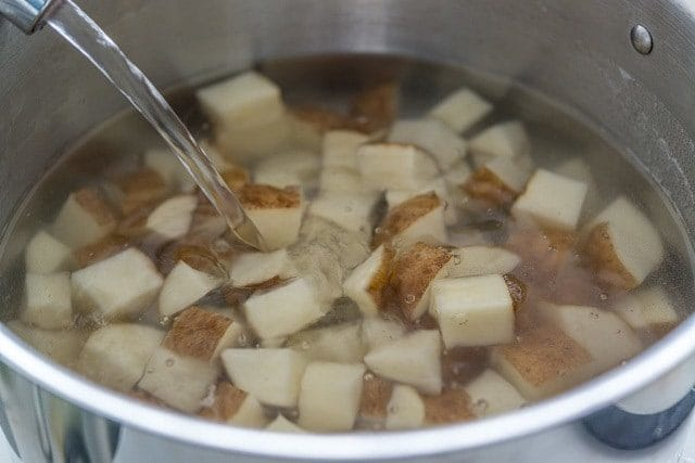 Russet Potato Chunks in Water in Pot