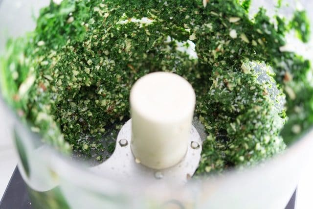 Kale Pesto Grinding in Food Processor Bowl