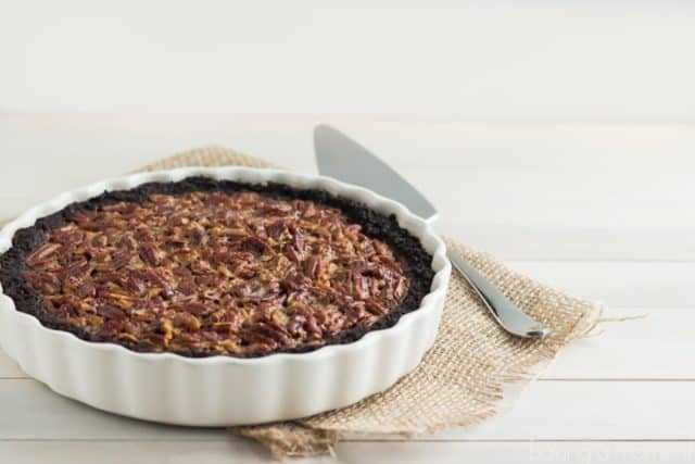 Chocolate Pecan Pie Without Corn Syrup - On Burlap with Pie Server