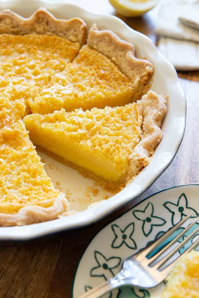Lemon Buttermilk Pie - Slices in a Pie Dish