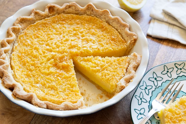 Lemon Pie - Baked with Scratch Pie Crust and Cut into Slices