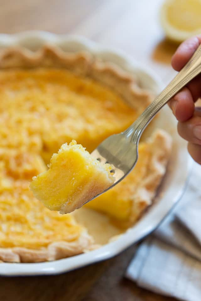 Meyer Lemon Pie - Closeup of Piece on a Fork