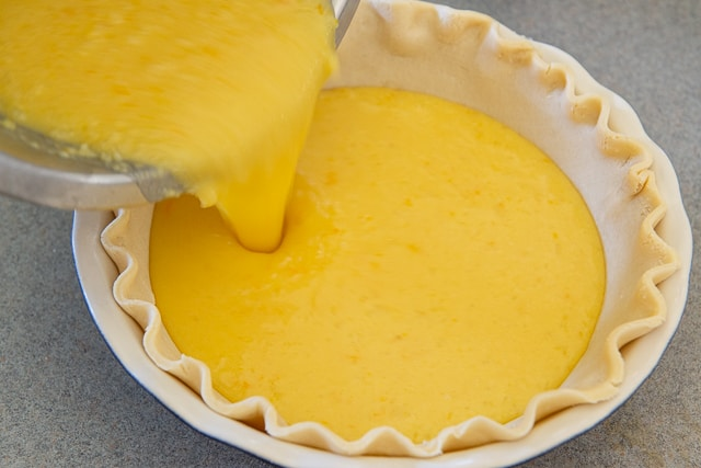Lemon Custard Filling - Pouring Into Unbaked Pie Crust