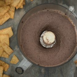 Black Bean Hummus in Food Processor Bowl with Chips On Side