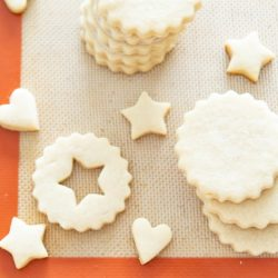 Cut Out Cookies On A Silicone Mat in Varying Shapes