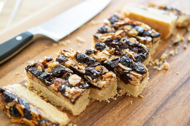 Florentine Shortbread Bar Cookies on a Wooden Board