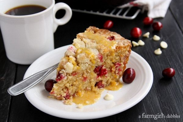 Close Up of Cranberry Orange Skillet Cake on White Plate