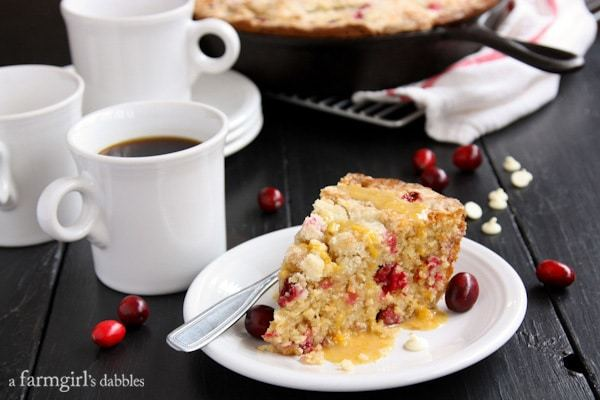 Cranberry Orange Cast Iron Skillet Cake on White Plate with Fork