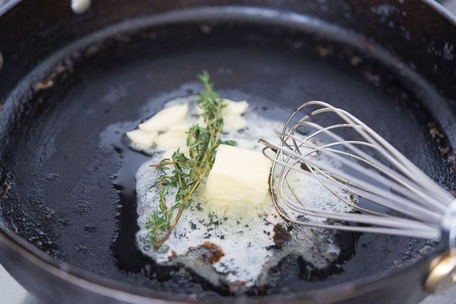 Butter and Thyme in Cast Iron Skillet