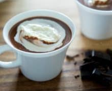 Hot Chocolate Served in White Mug with whipped Cream On Top