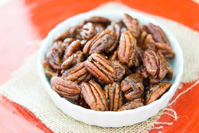 Candied Pecans - In a White Circular Dish with Burlap Underneath