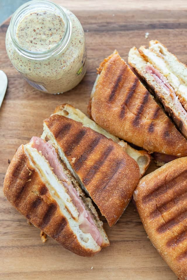 Chicken Cordon Bleu Panini - Ham, Cheese, and Chicken between Bread