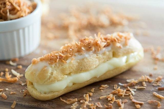 Coconut Eclair - Garnished with Toasted Coconut