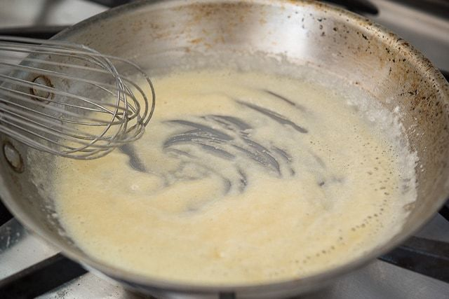 Whisk a Flour Paste in Stainless Skillet