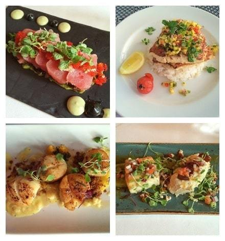 Photo Collage of Turks and Caicos Restaurant Dishes Plated at Fine Dining