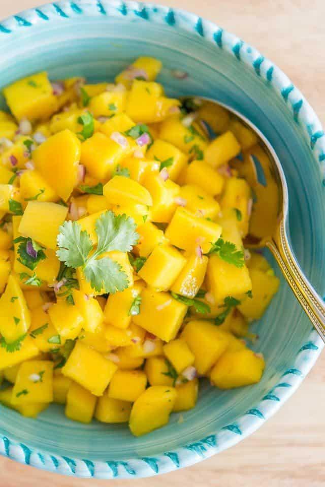 Mango Salsa - Easy Mango Salsa Recipe With Fresh Chopped Cilantro In Blue Bowl