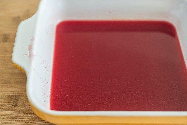 Blood Orange Juice Mixture in Yellow Dish
