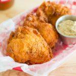 Fried Chicken in a Red basket with Mustard Ramekin