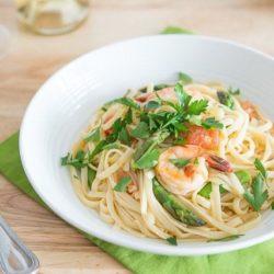 Shrimp and Asparagus Pasta in White Bowl