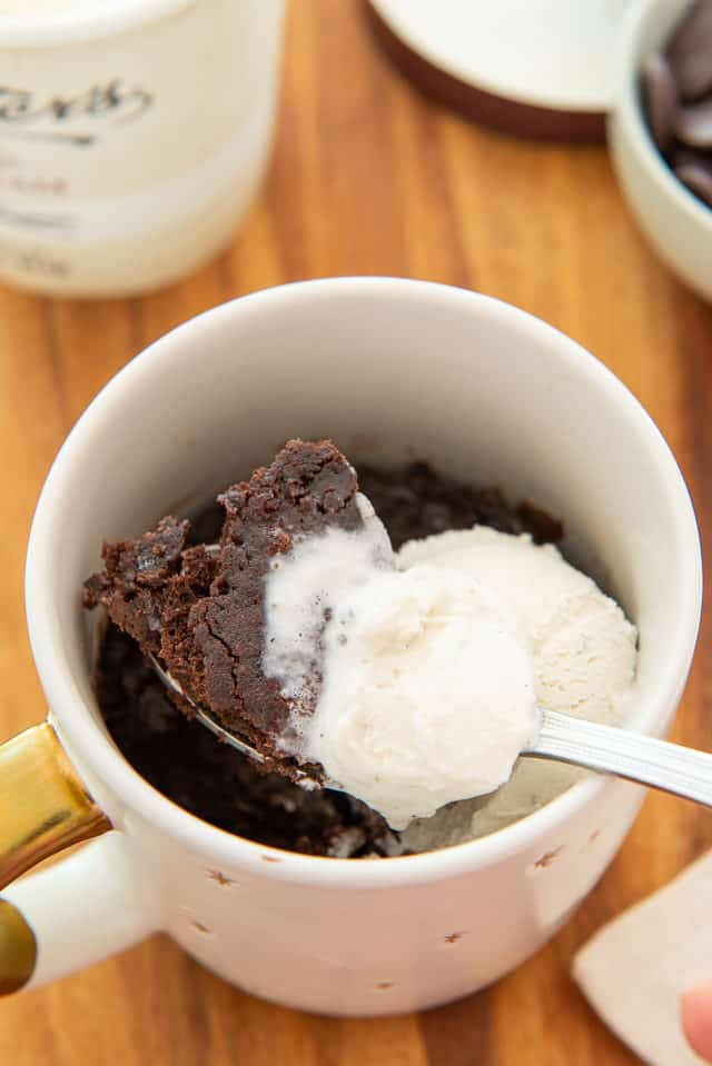 Chocolate Mug Cake - Overhead View with Spoonful and Scoop of Vanilla Ice Cream