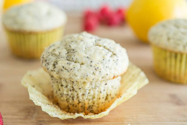 Peeled Back Poppy Seed Muffin on Cutting Board