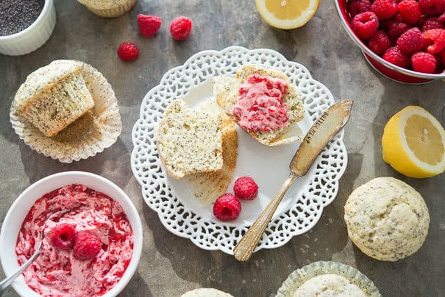 Poppy Seed Muffin Recipe - Plated with Raspberry Butter and Lemons