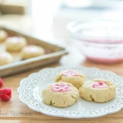 Pink Lemonade Filled Thumbprint Cookies on Plate and Tray