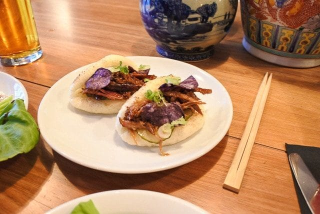 Steamed Buns on a White Plate